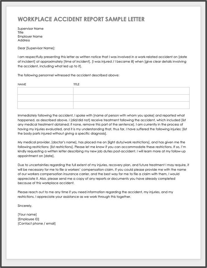 Workplace Accident Report Sample Letter