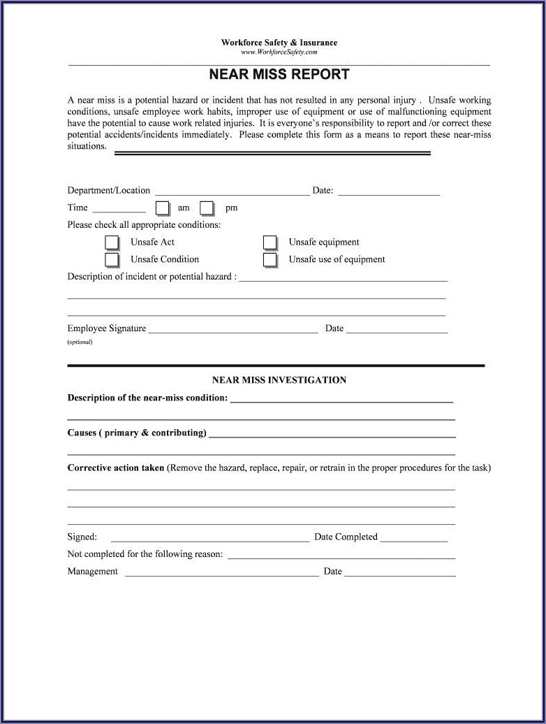Workplace Injury Report Form Template