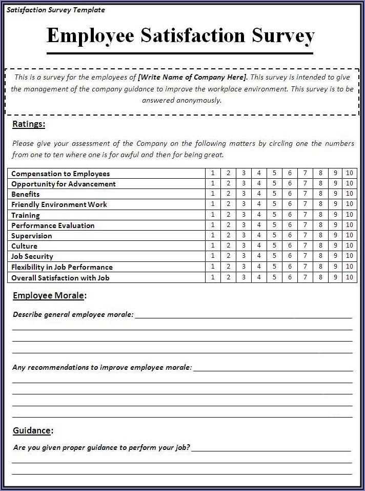 Workplace Satisfaction Survey Sample