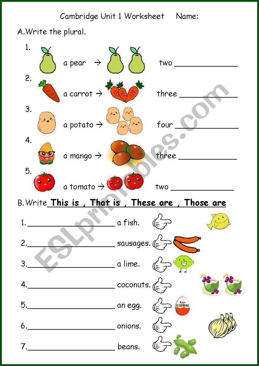 Worksheet English This That