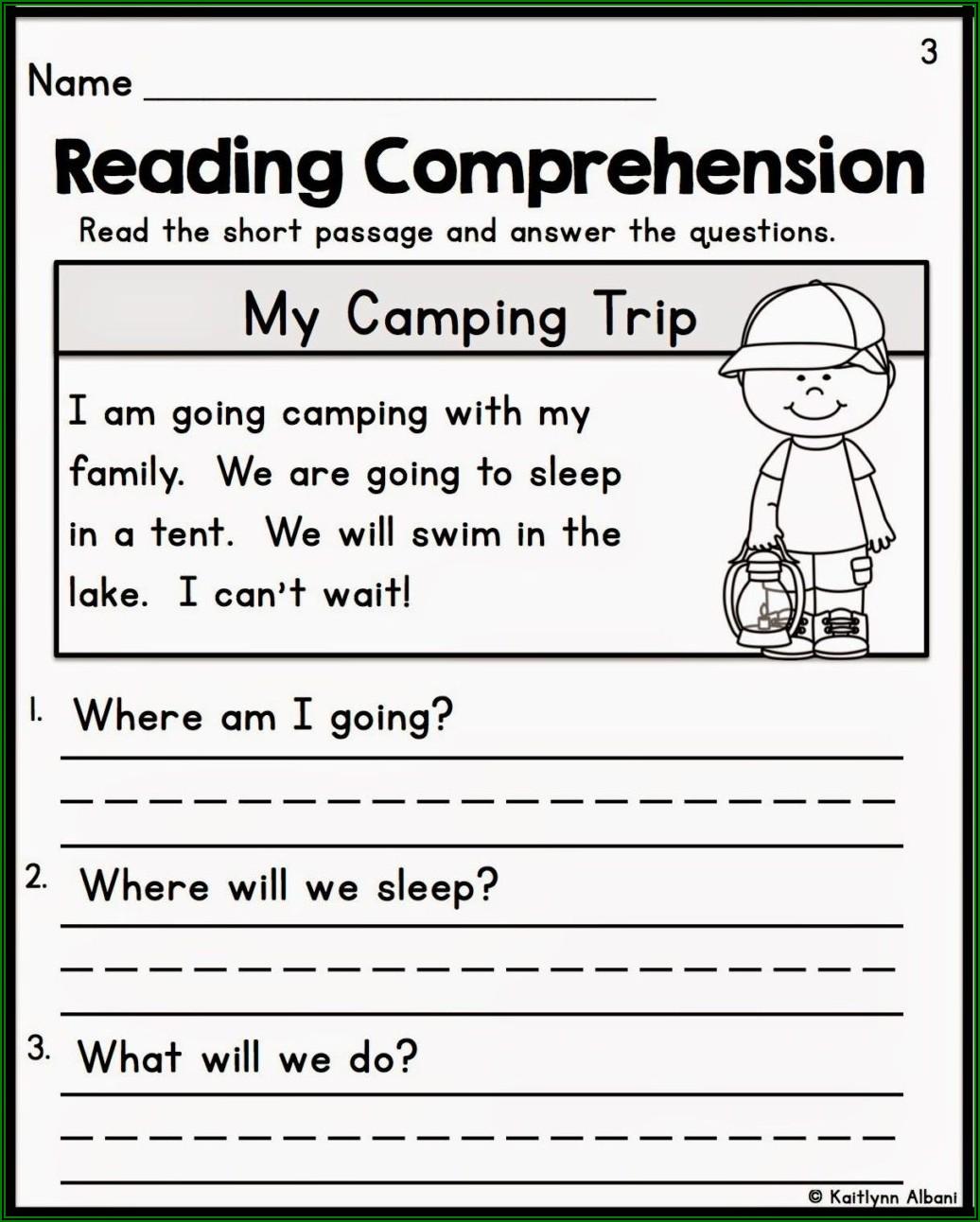 Worksheet Kindergarten Reading Comprehension