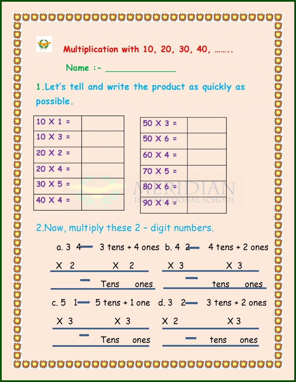 Worksheet Multiplication For Grade 2