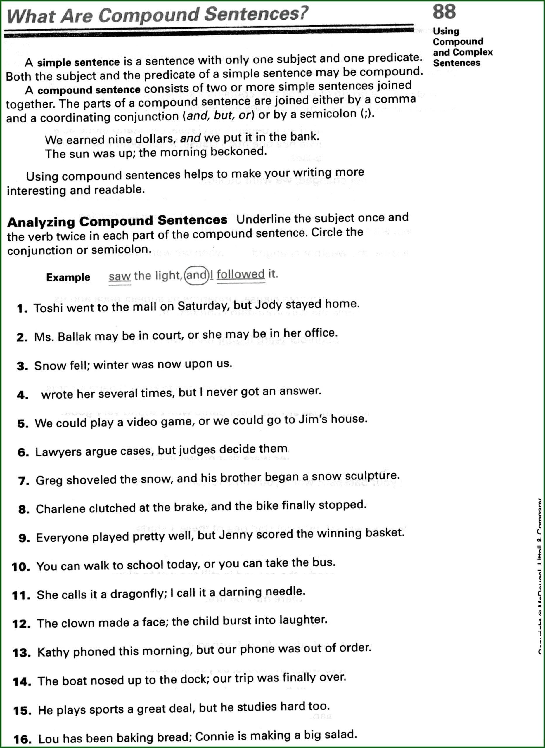 Worksheet On Simple Compound And Complex Sentence