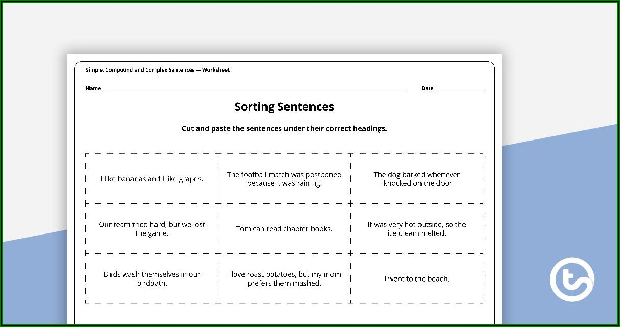 Worksheet On Simple Compound And Complex Sentences Pdf
