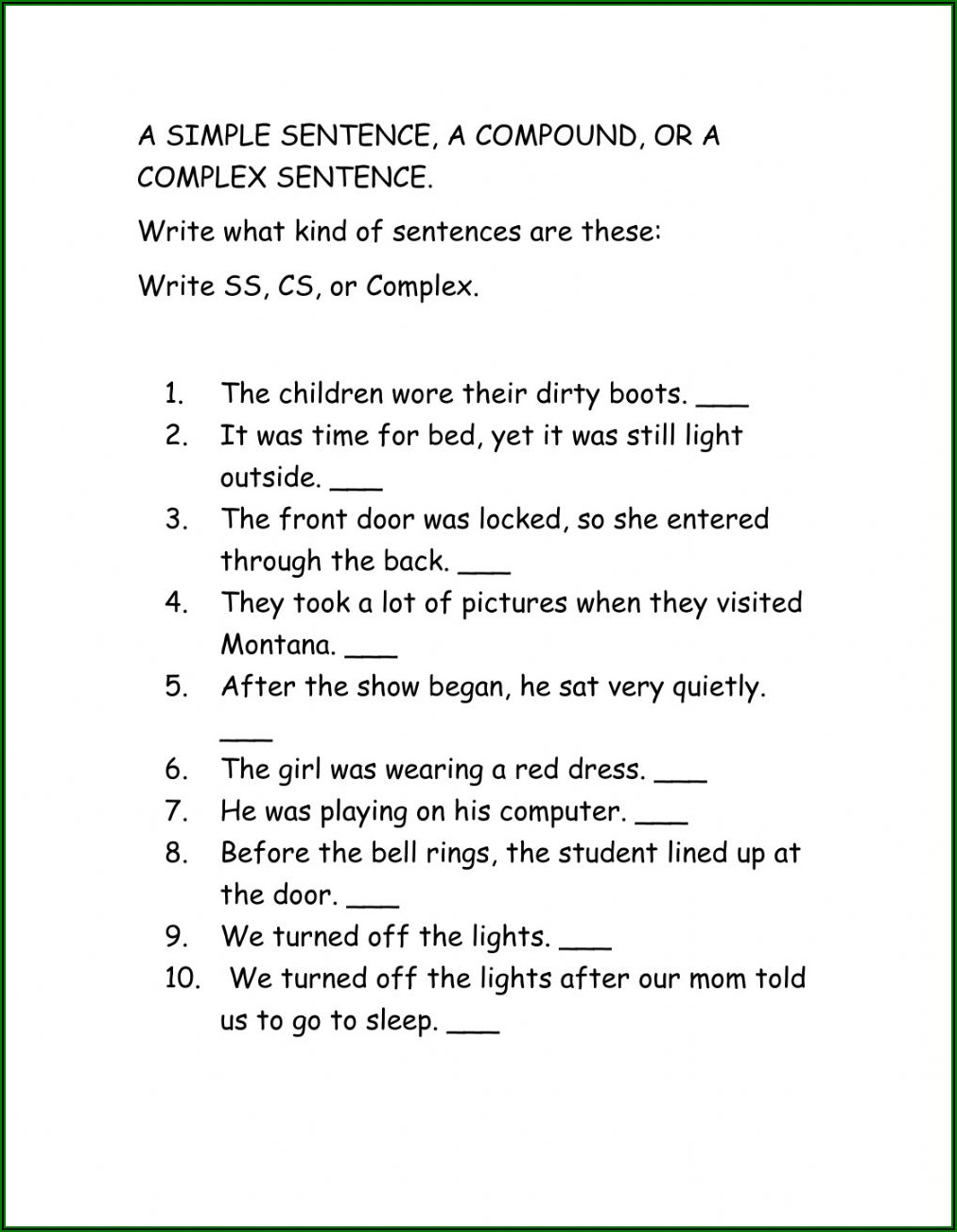 Worksheet On Simple Compound And Complex Sentences With Answers