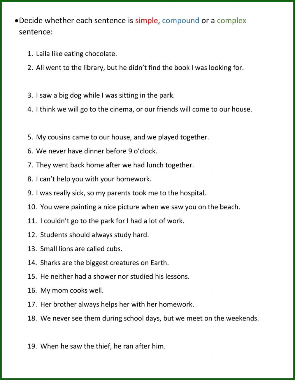 Worksheets On Simple Compound And Complex Sentences For Grade 6 Pdf