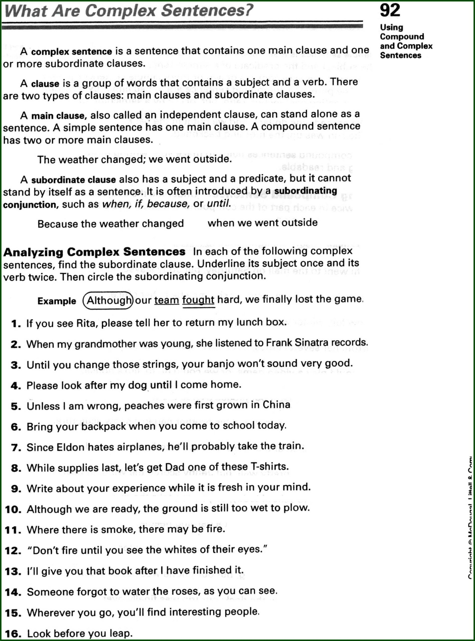 Worksheets On Simple Compound And Complex Sentences For Grade 8