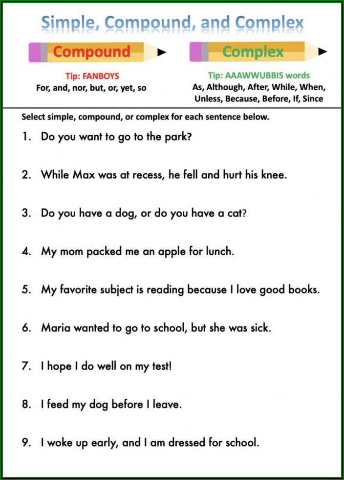 Worksheets On Simple Compound And Complex Sentences