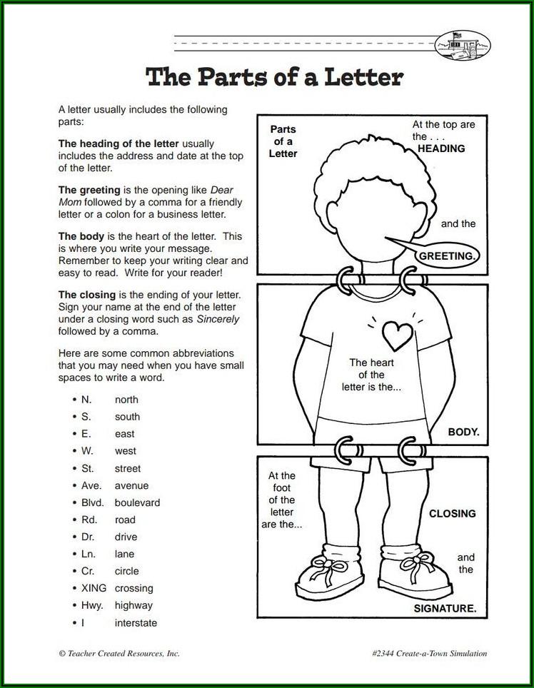 Writing A Friendly Letter Worksheet Pdf