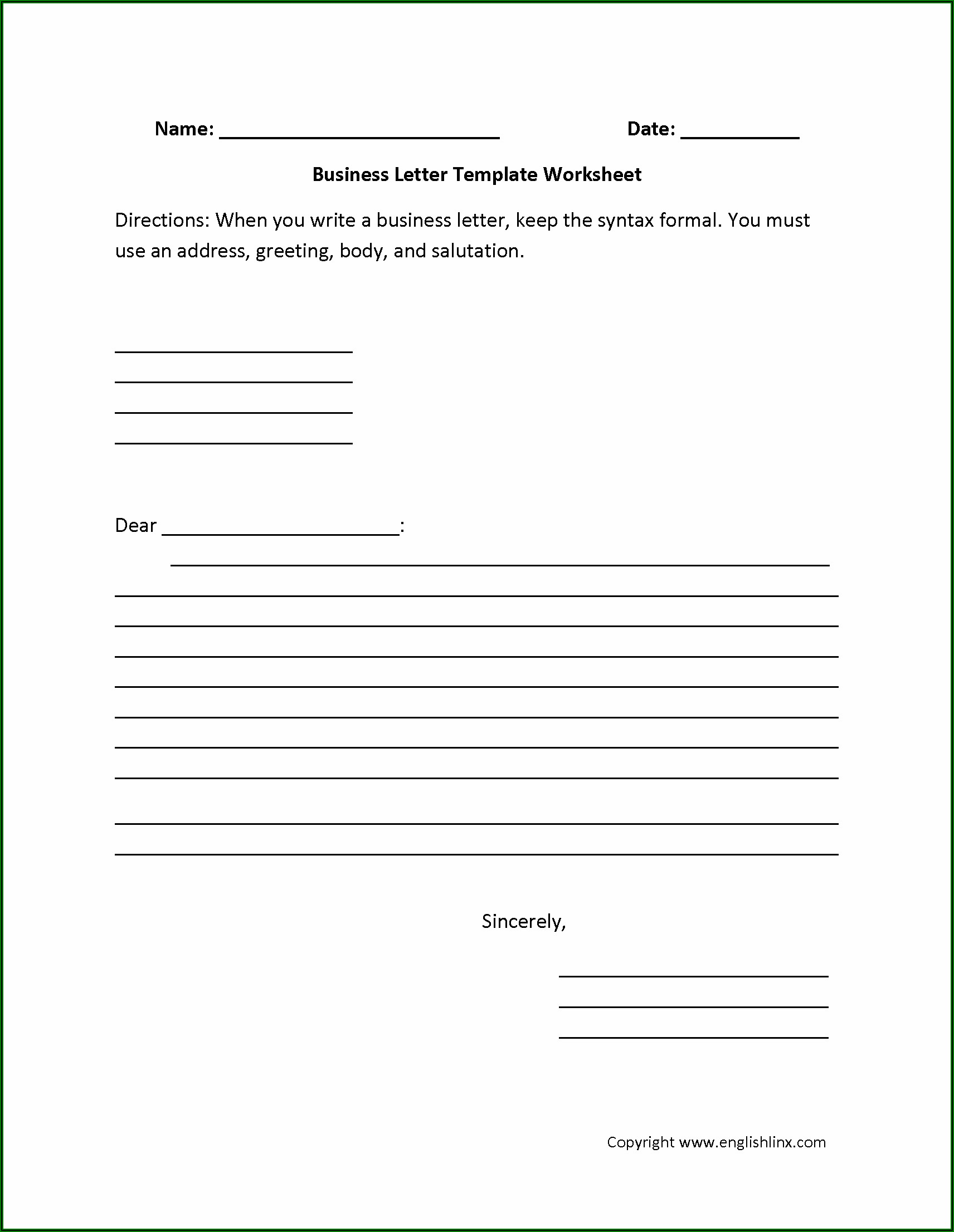 Writing Formal Letters Exercises Pdf