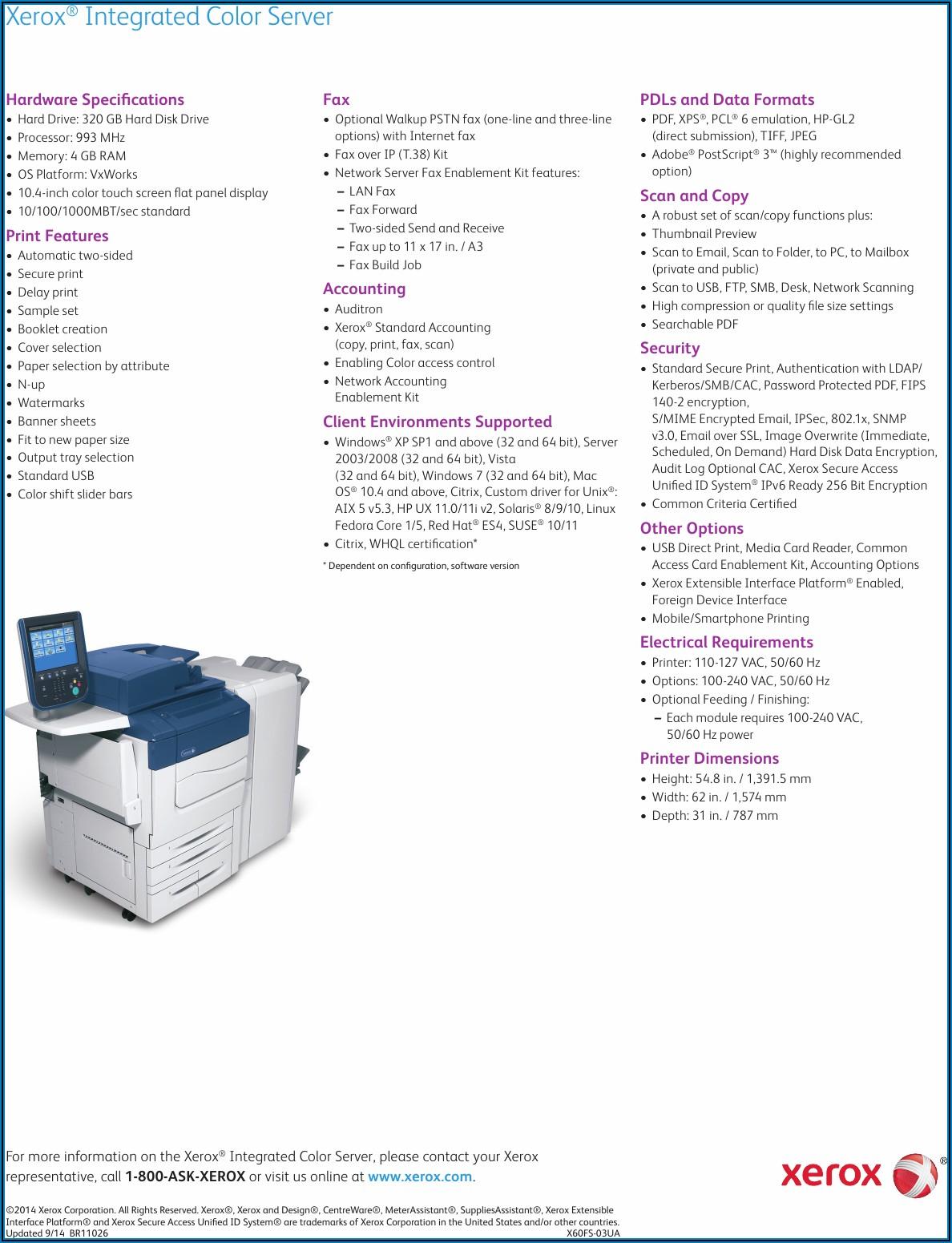 Xerox C60 Specifications Pdf