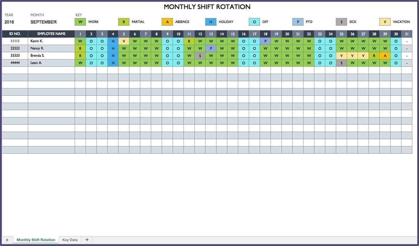 Yearly Work Schedule Calendar Template