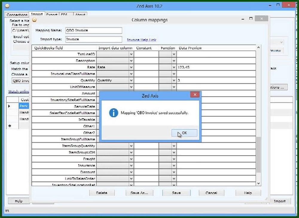 Zed Axis Invoice Import