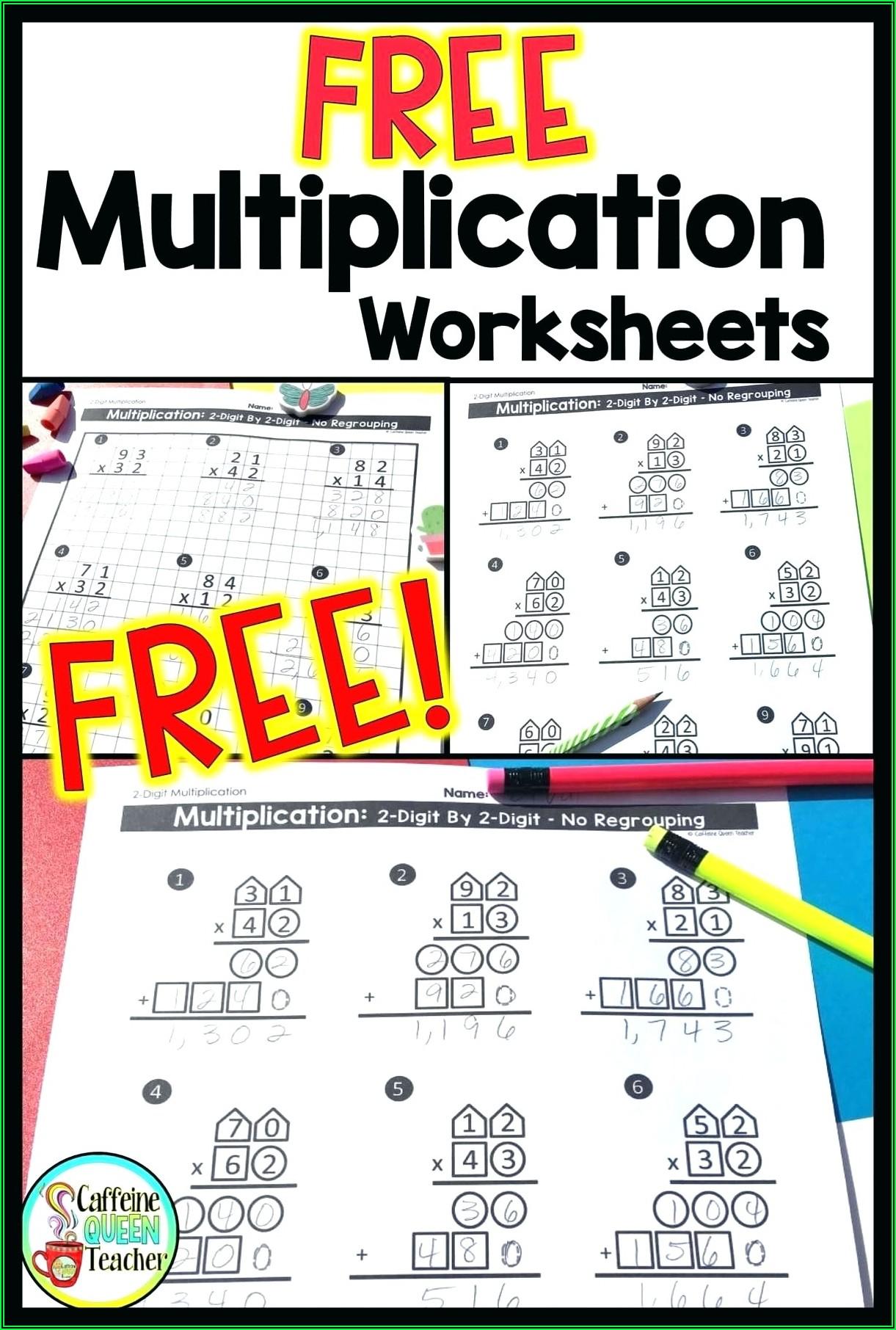 2 Digit Times 3 Digit Multiplication Worksheets