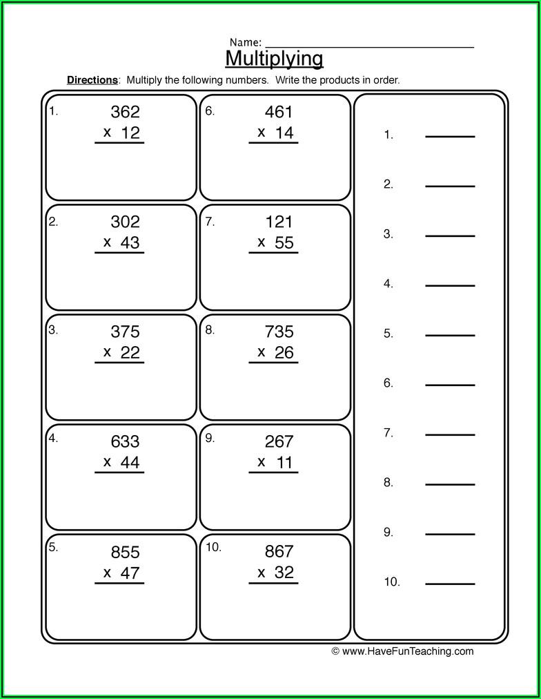 2 X 3 Multiplication Worksheets