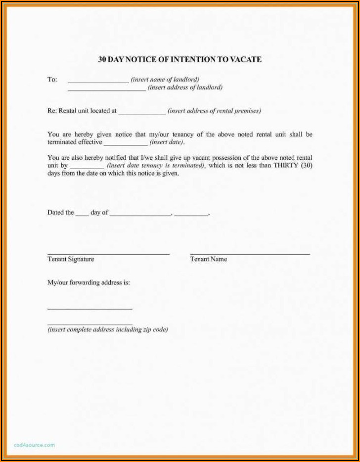 30 Day Move Out Notice Word Template