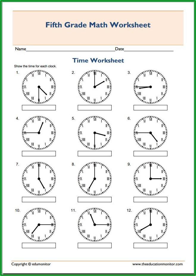 3rd Grade Time Worksheets Pdf