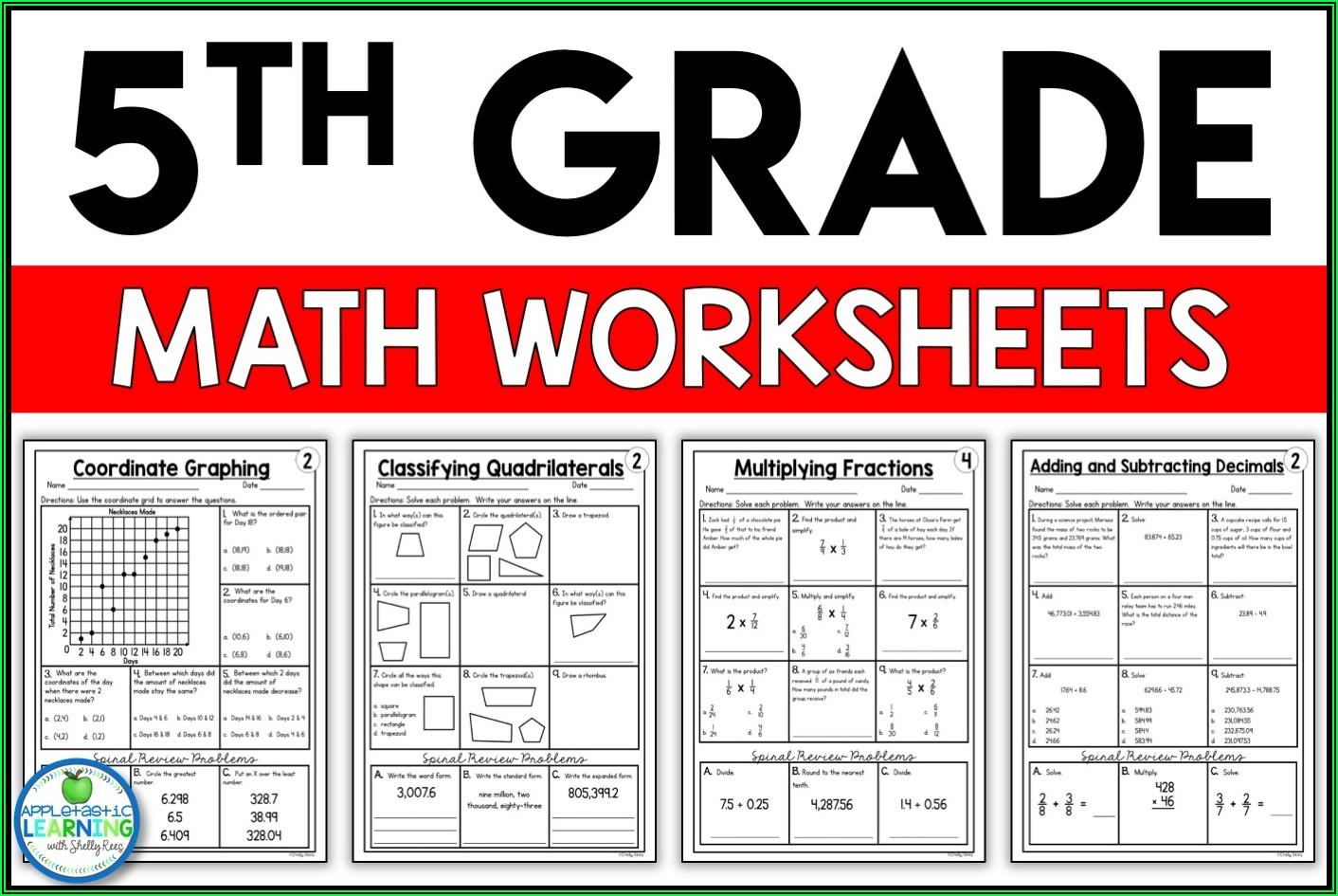5th Grade Math Printable Worksheets