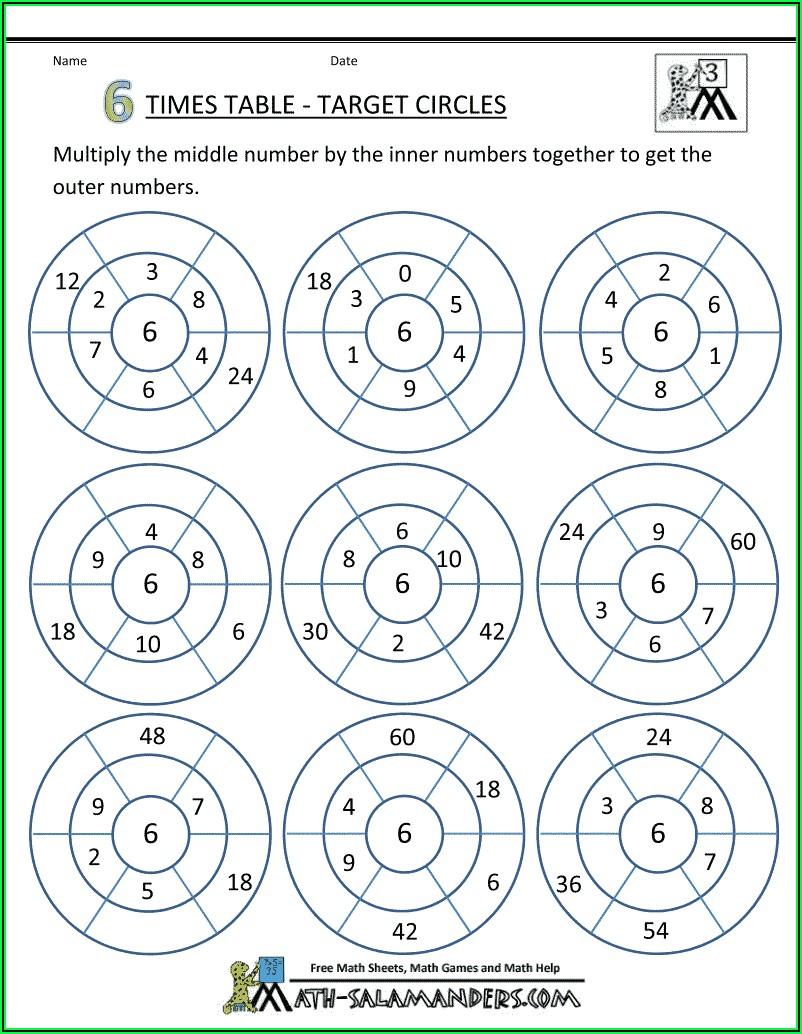 6 Times Table Worksheet With Answers