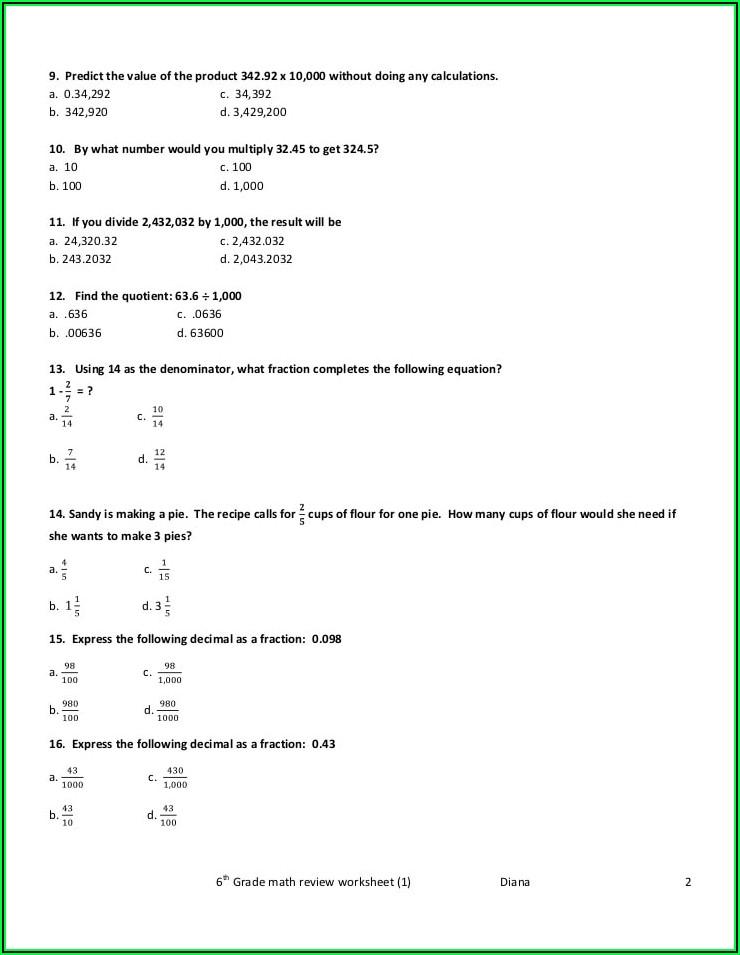6th Grade Worksheet Math