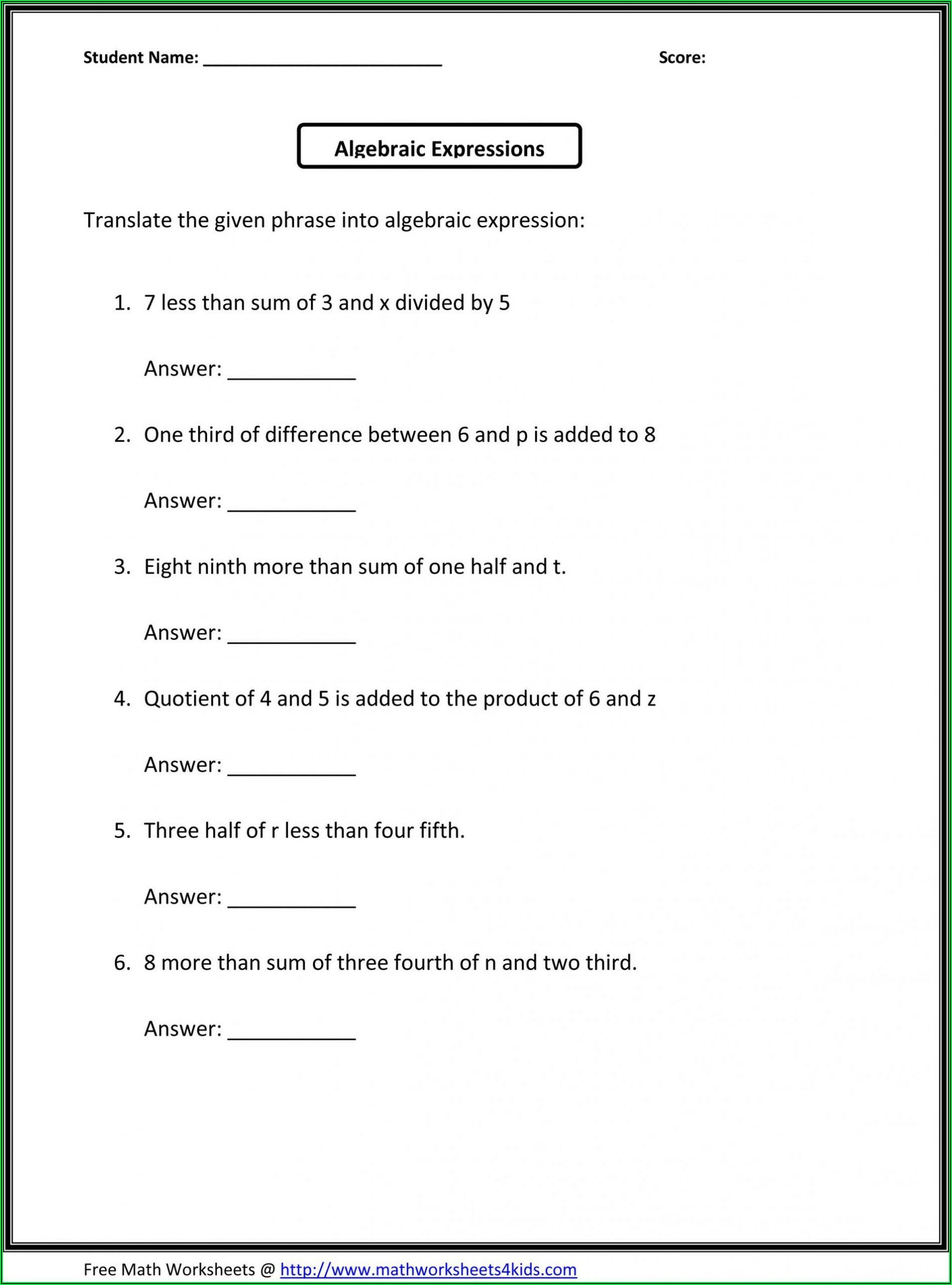 6th Grade Worksheets Math