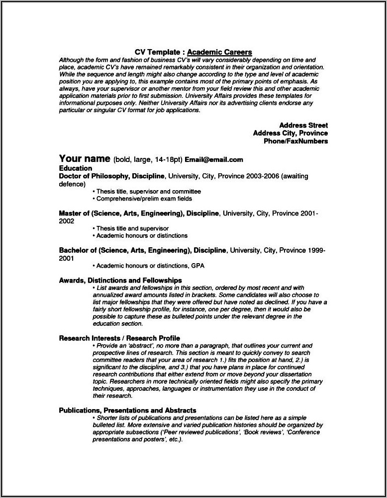 Academic Cv Template Free Download