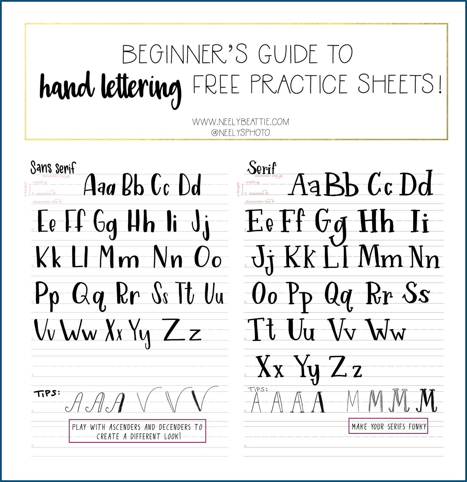 Beginner Hand Lettering Practice Sheets Pdf