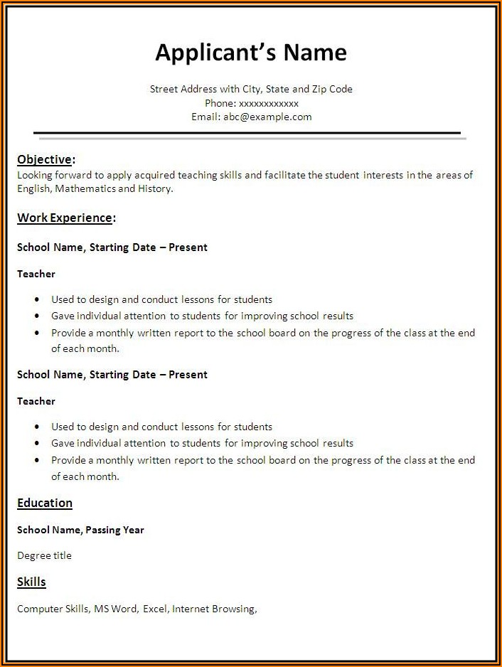 Best Word Format For Resume