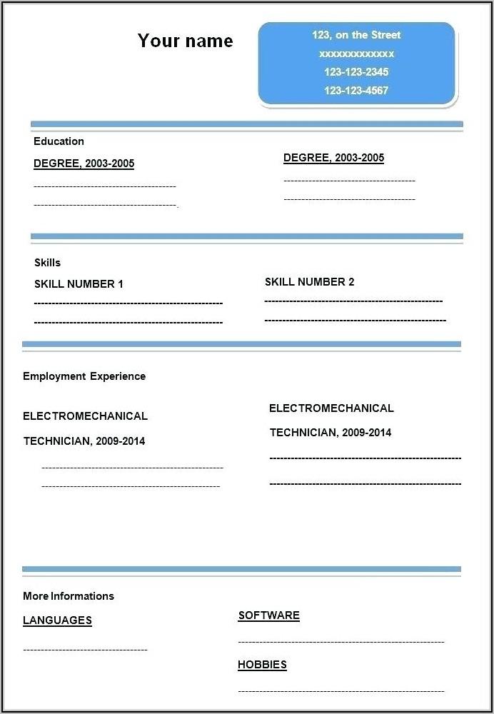 Blank Resume Format Free Download