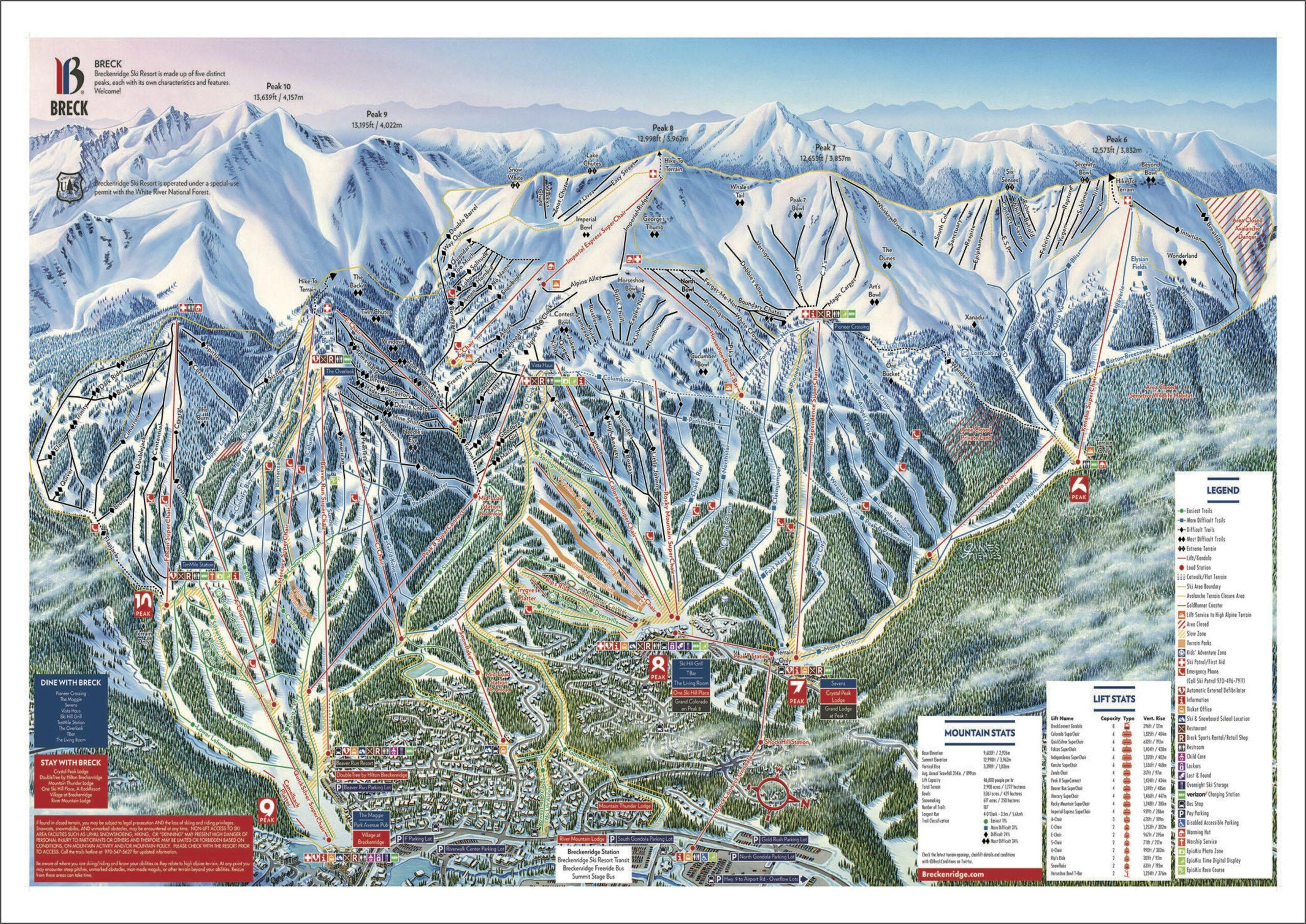 Breckenridge Ski Resort Lodging Map