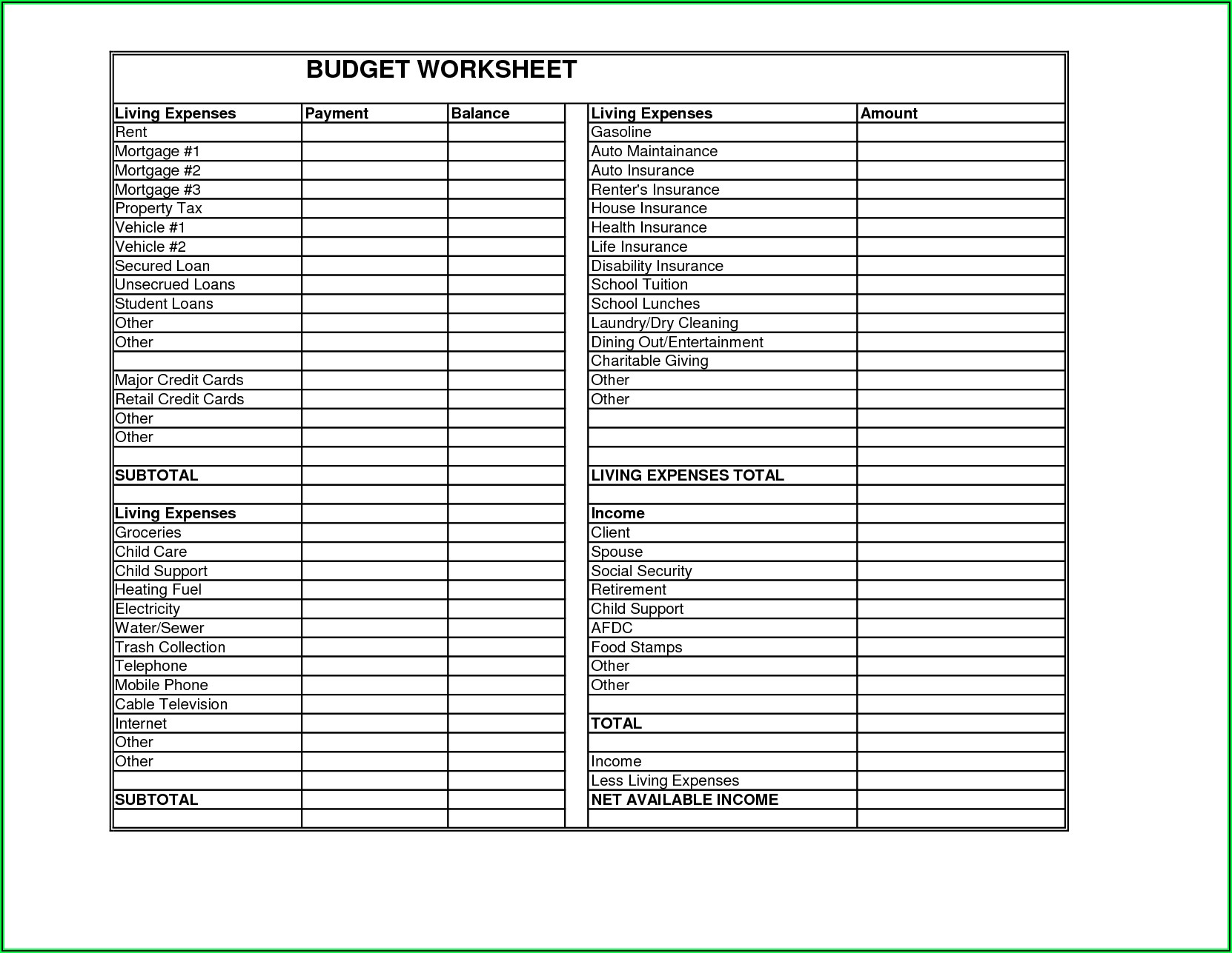 Budget Template For Renters