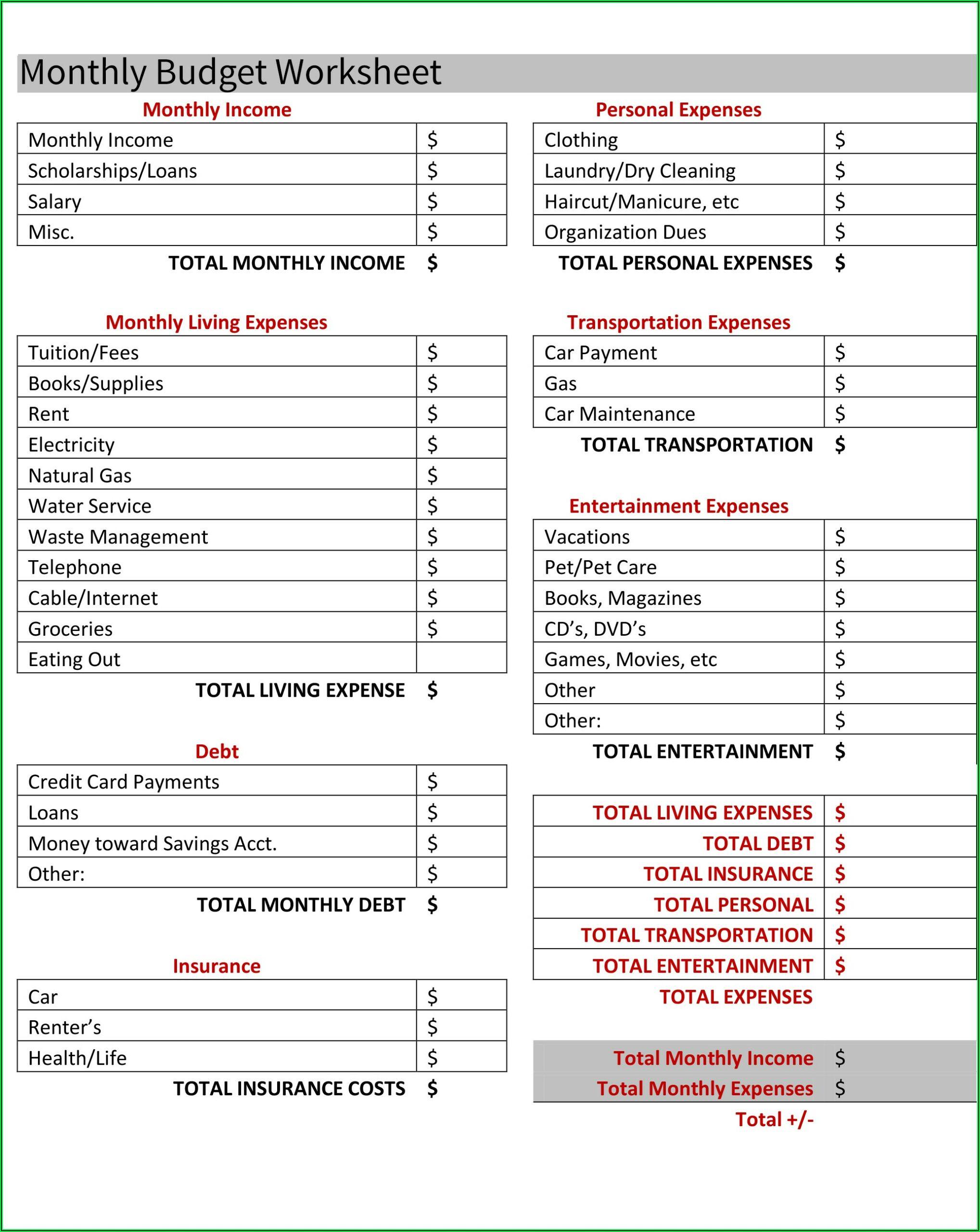 Budget Worksheet For Renters