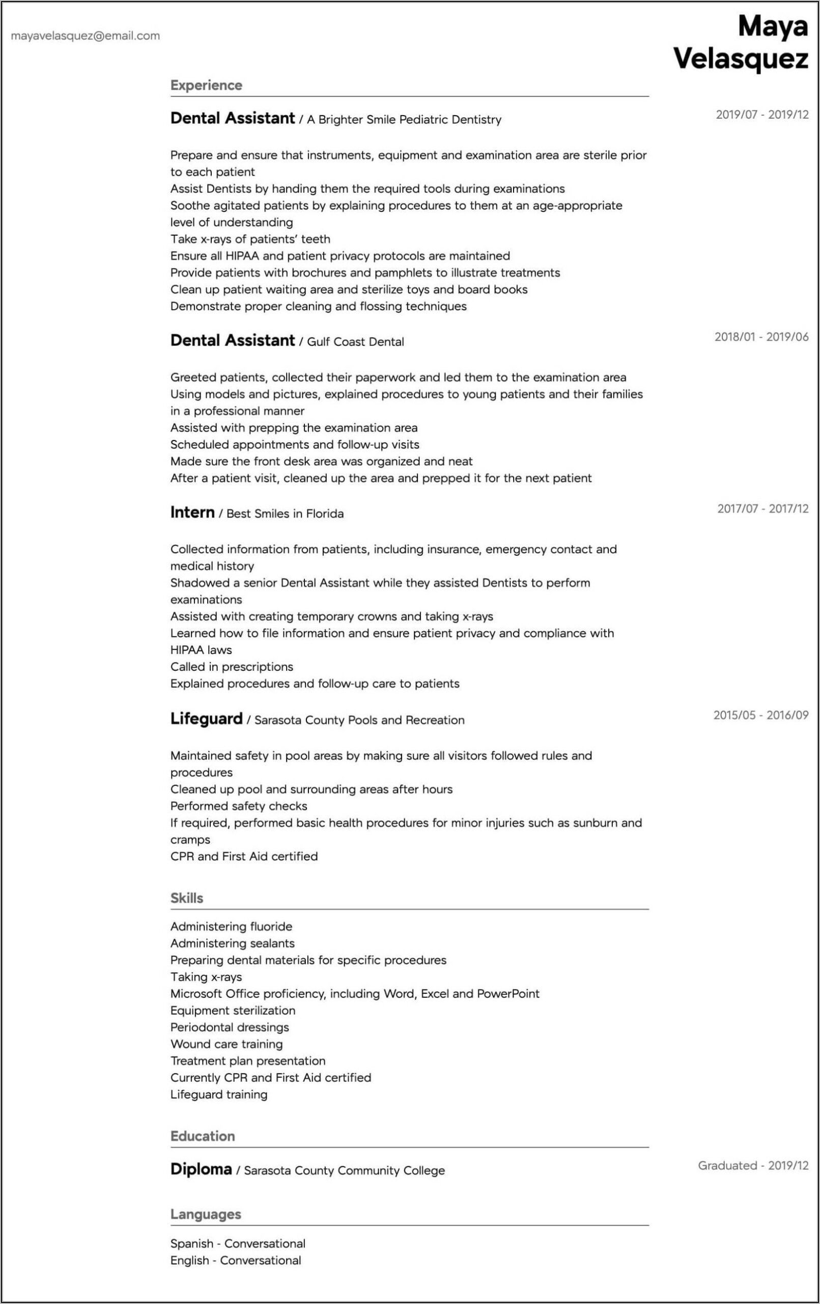 Certified Dental Assistant Resume Examples