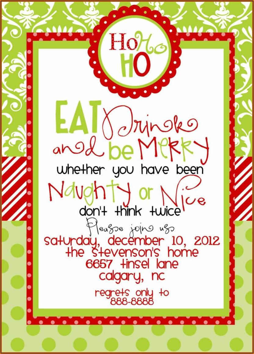 Christmas Dinner Invite Wording Funny