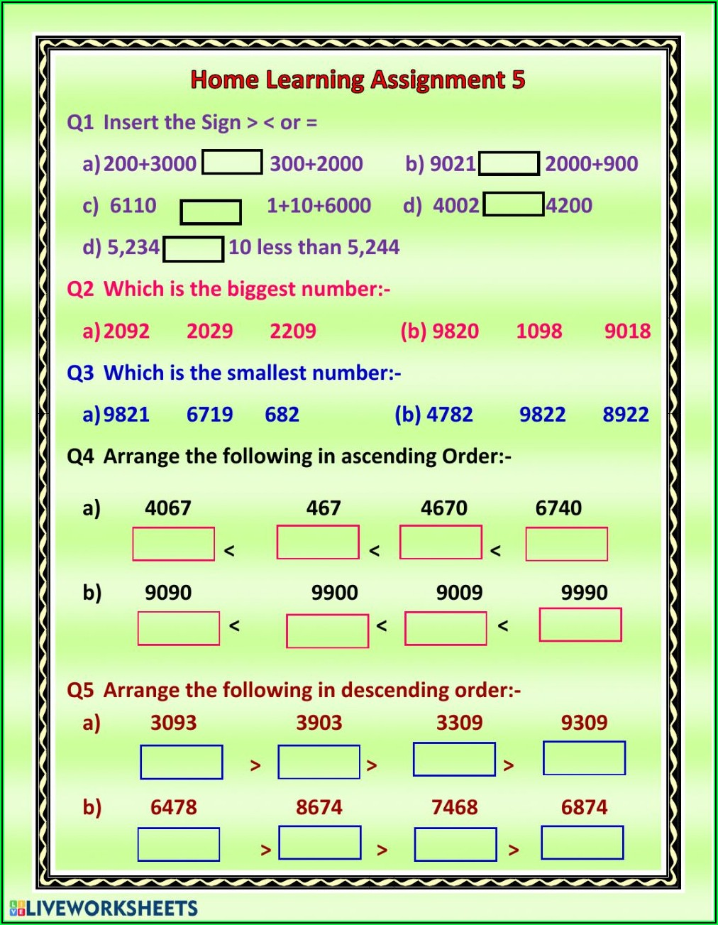 Comparing And Ordering Numbers Worksheets For Grade 5