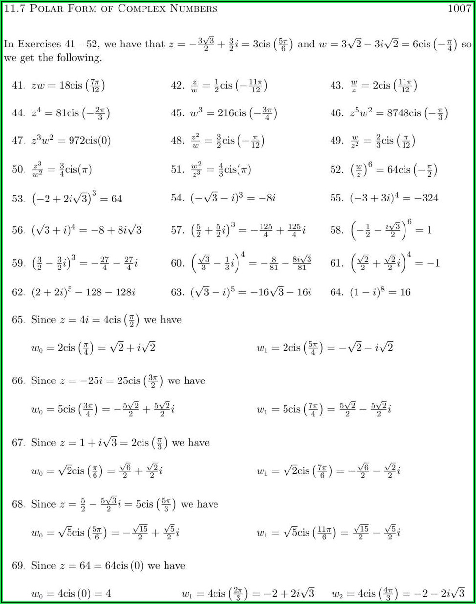 Complex Number Worksheet Answers