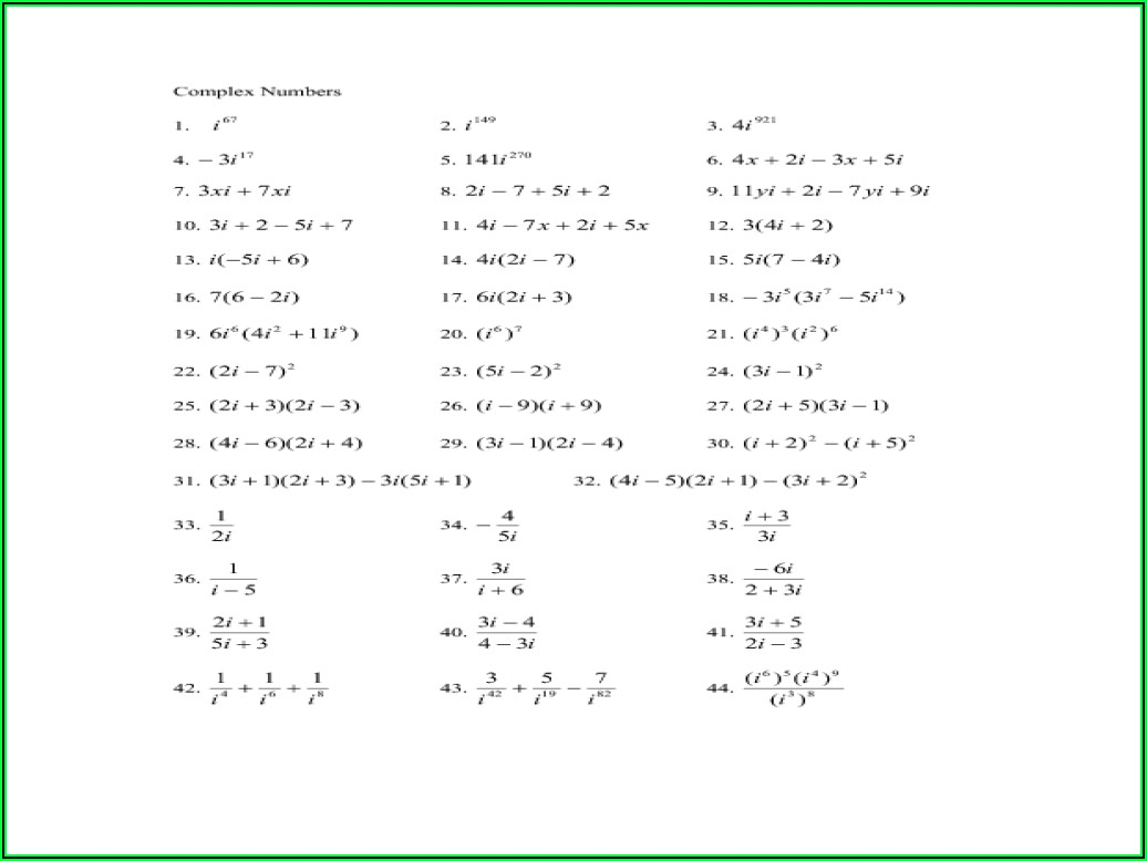 Complex Numbers Worksheet Answers