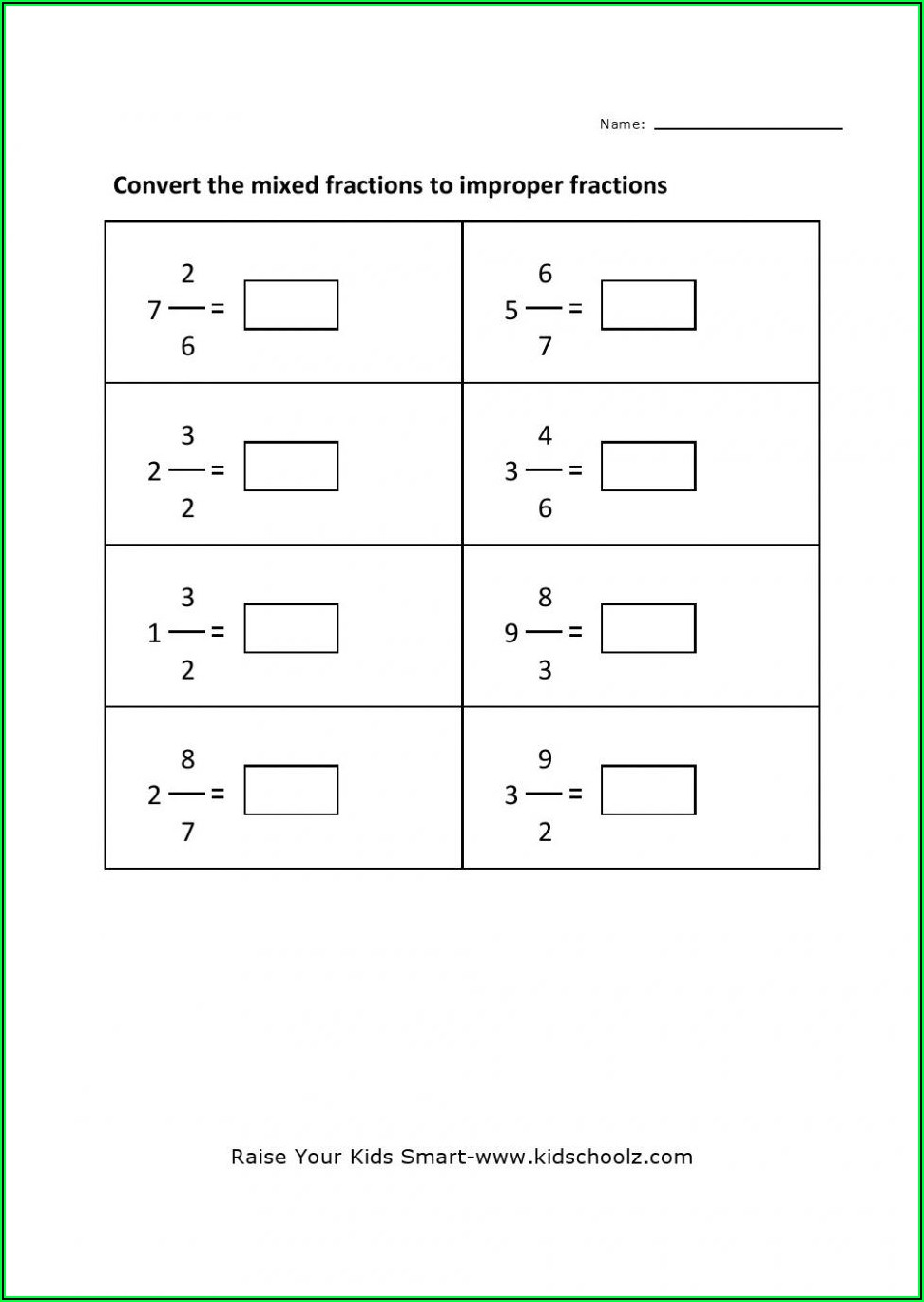 Convert Improper Fractions To Mixed Numbers Worksheet K5 Learning