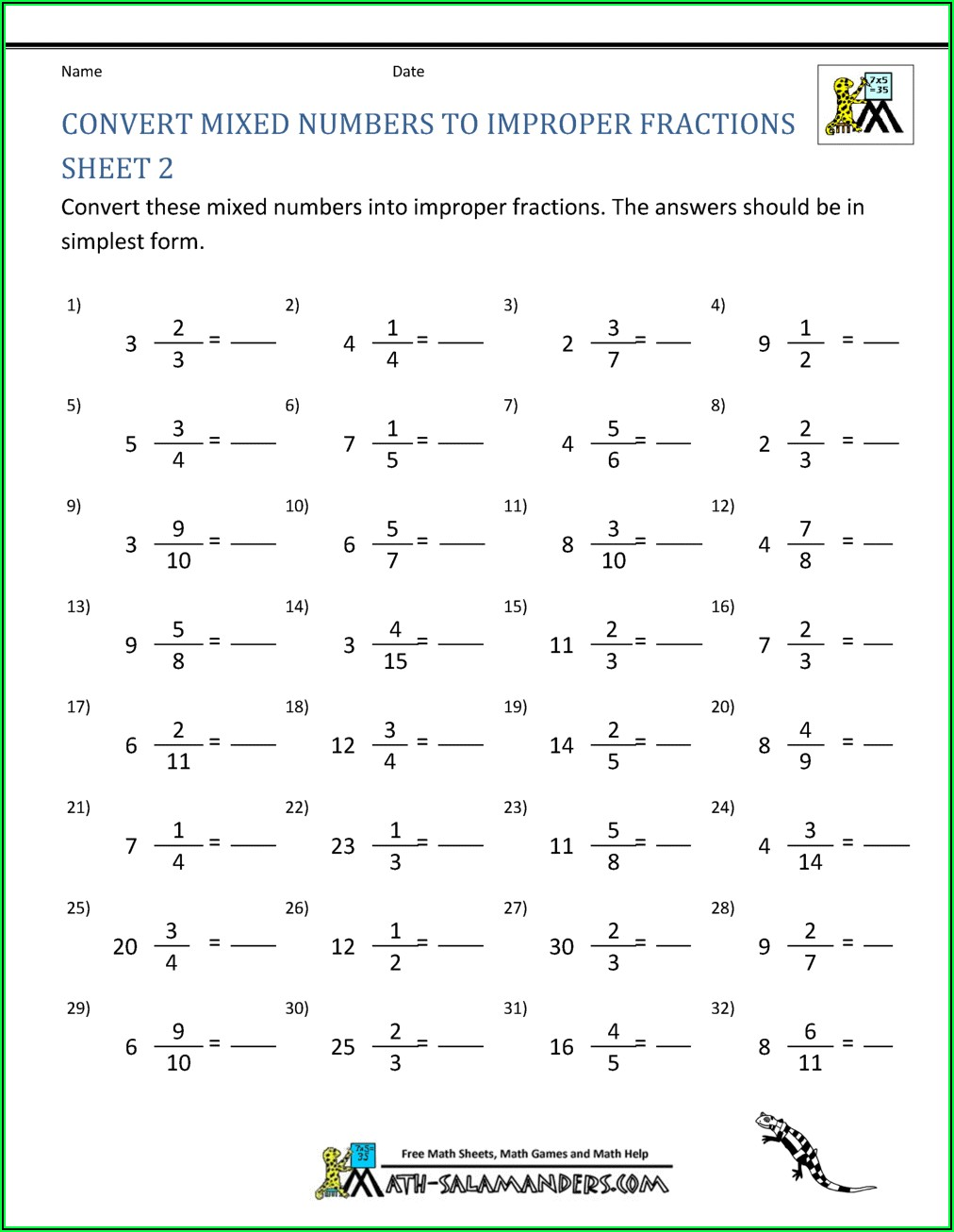 Convert Improper Fractions To Mixed Numbers Worksheet Pdf