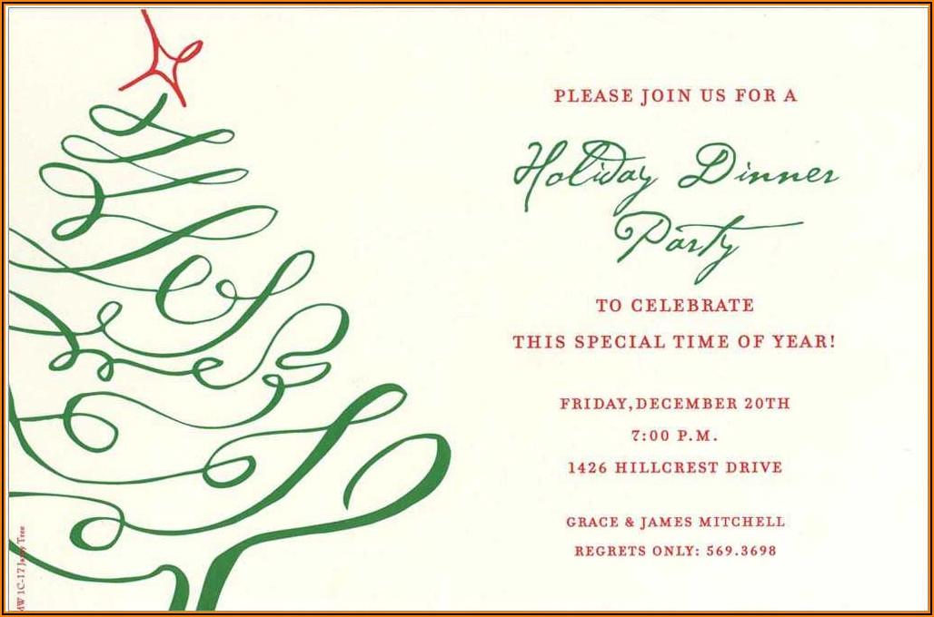 Corporate Christmas Dinner Invitation Wording