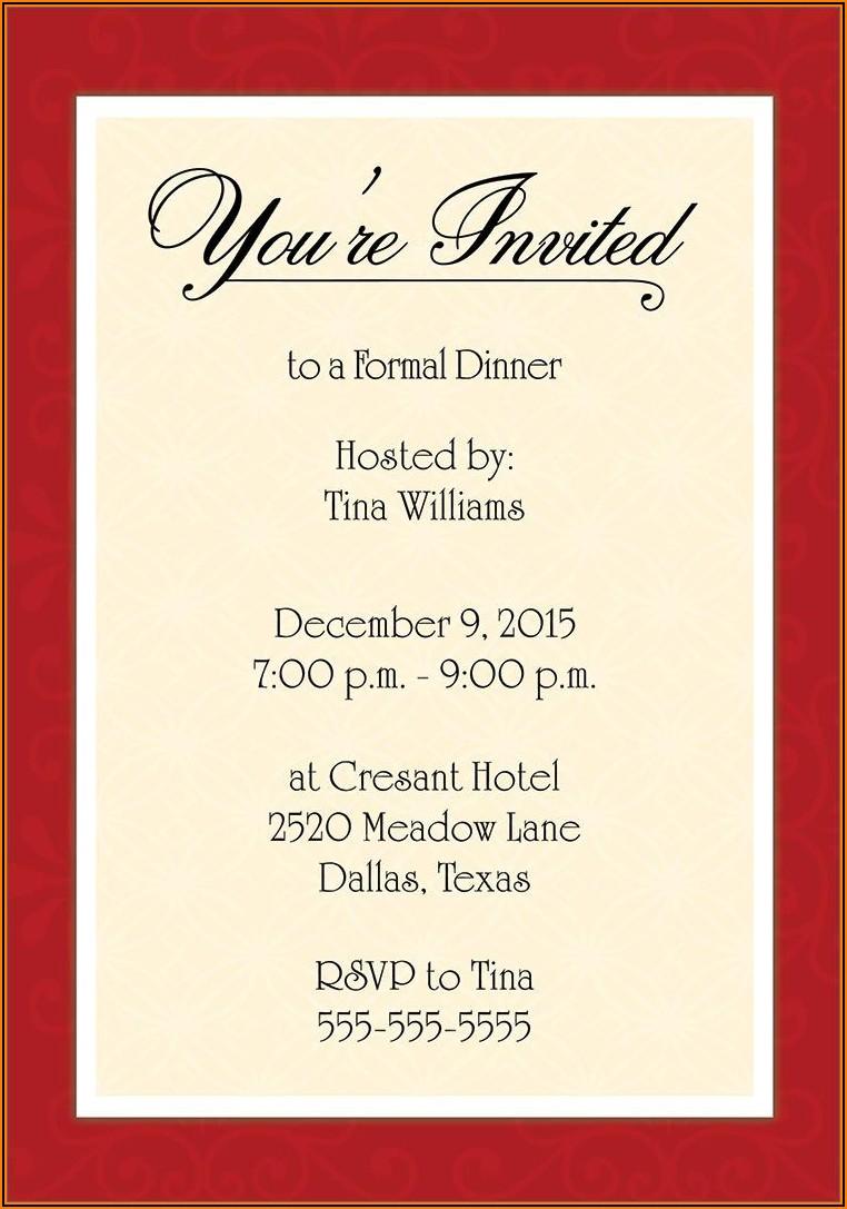 Corporate Holiday Dinner Invitation Wording