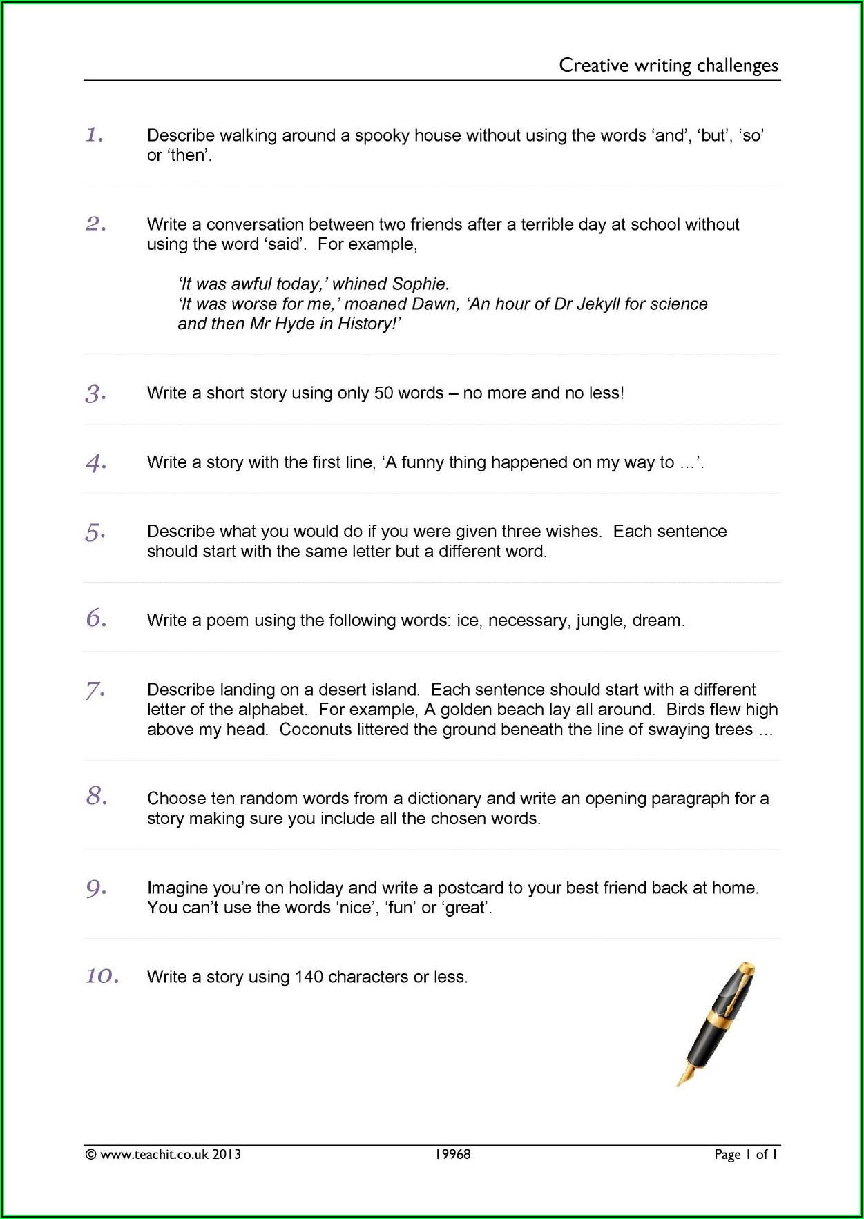Creative Writing Worksheet Ks3