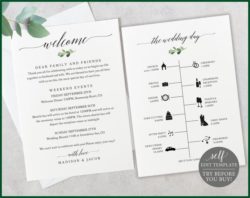 Day Of Wedding Timeline Template Free