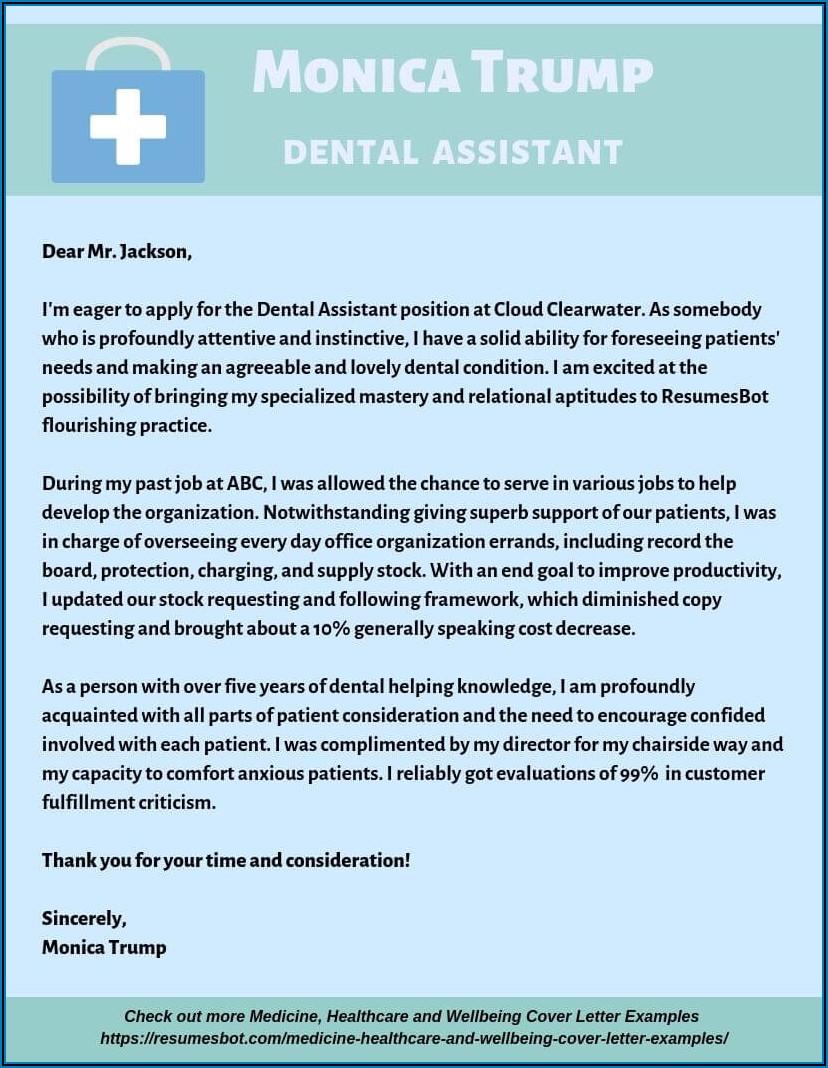 Dental Assistant Cover Letter Pdf