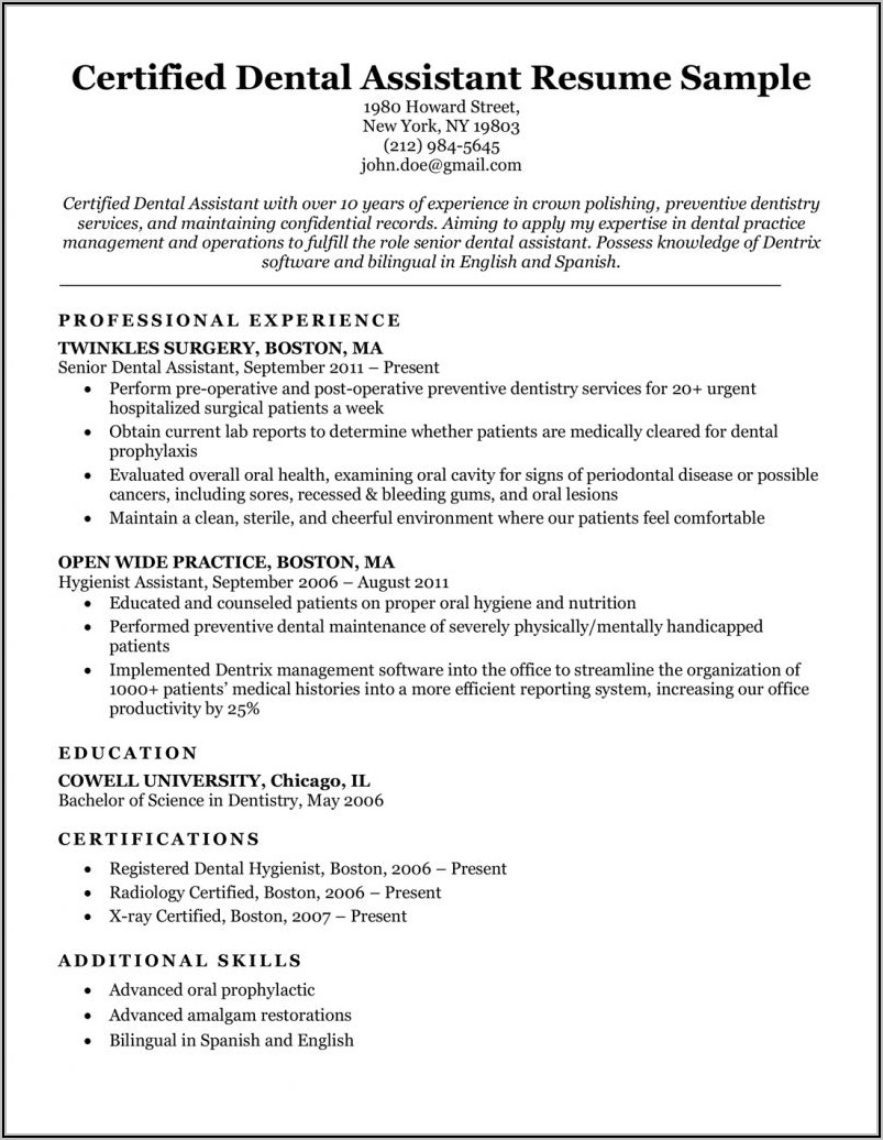 Dental Assistant Resume Examples With Experience