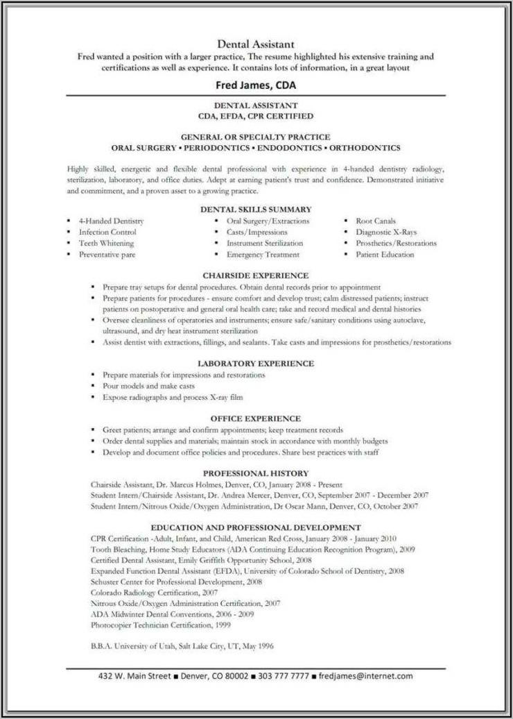 Dental Assistant Resume Objective Samples