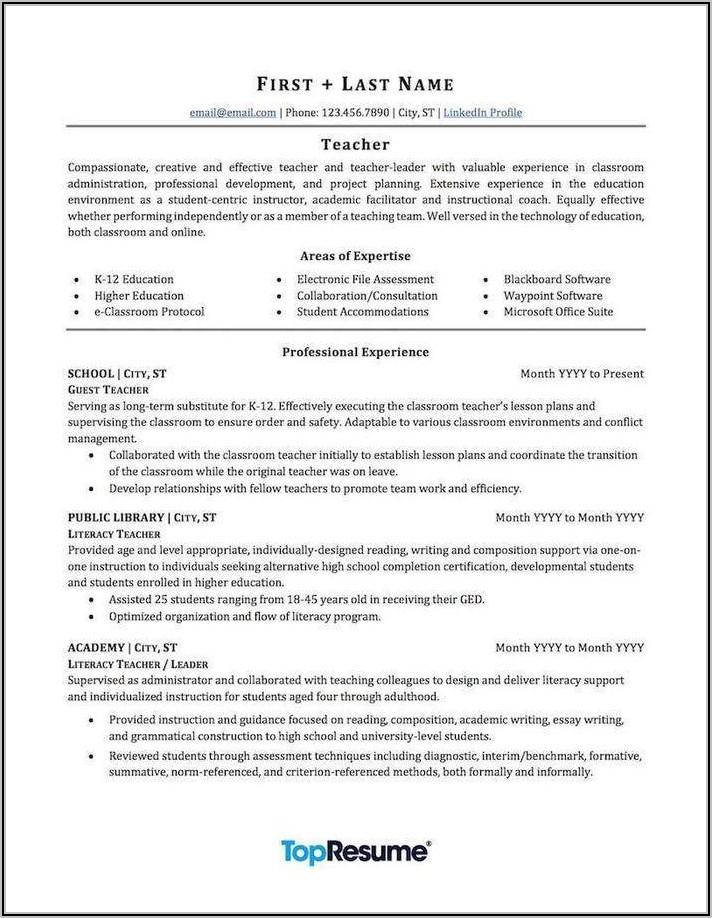 Editable Teacher Resume Template Free Download