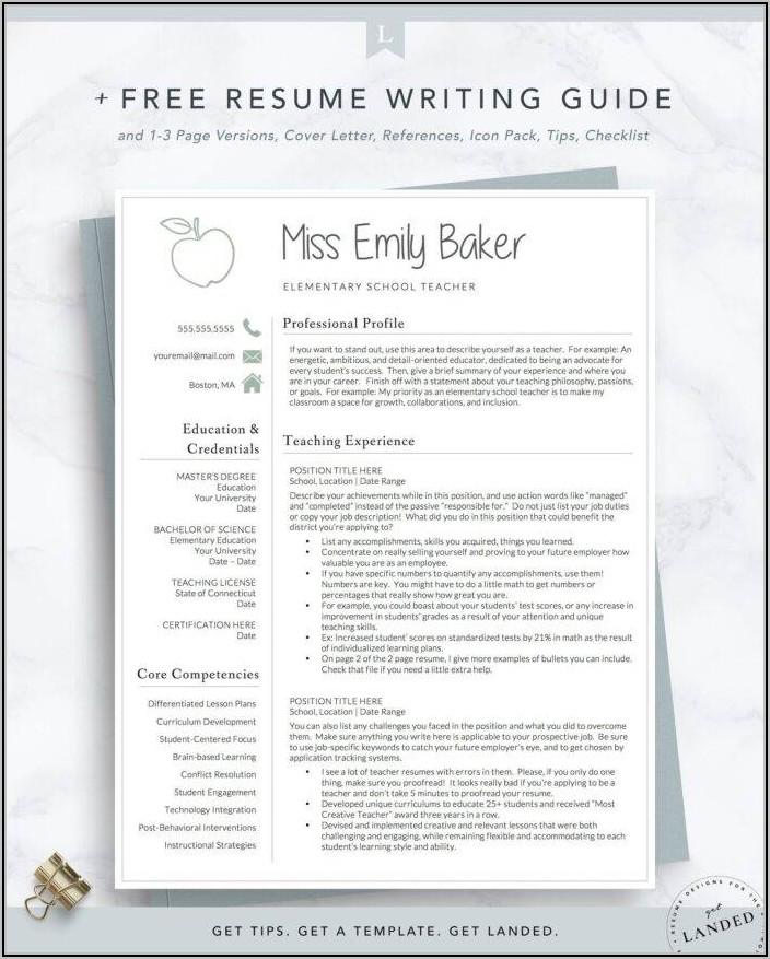 Editable Teacher Resume Template Free