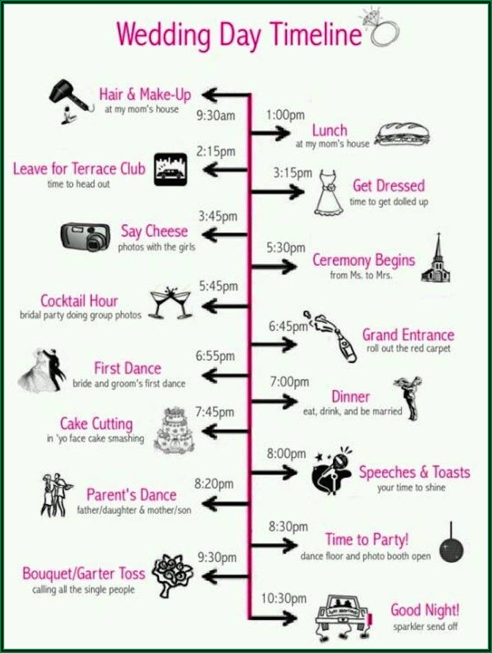 Editable Wedding Day Timeline Template Free
