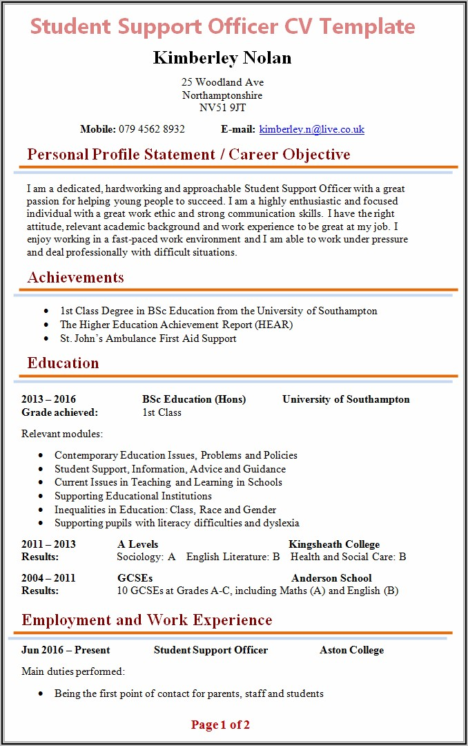 Education Cv Template Free
